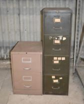A two drawer and a four drawer filing cabinet