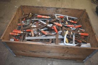 A pallet of assorted F clamps