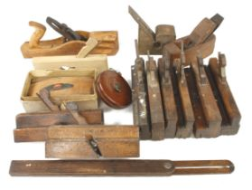 Two beech planes by MARPLES and ten other moulding planes etc G