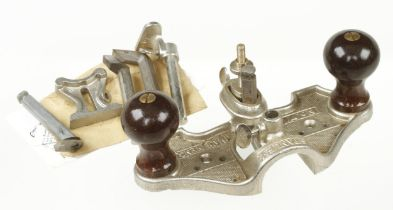 An unused English STANLEY No 71 router with four cutters, depth stop and fence in orig box G++