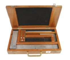Two MOORE & WRIGHT engineer's squares, two rules and a rosewood square in fitted box G+