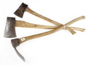 Two felling axes and an adze G