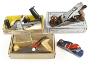 A STANLEY RB101 rebate plane, an ACORN No 4, a SILVER LINE No 4 and a block plane all in orig