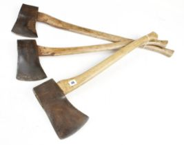 Three ELWELL felling axes Nos 4 1/2 and 6 G