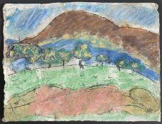 John EMANUEL (1930)Nude Figure in a Hilly Landscape Mixed media 20.5 x 26.5cm