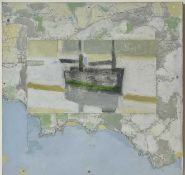 Michael UPTON (1938-2002)Map Boat, Mounts BayOil and collage on board Signed Estate label to verso