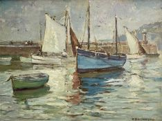 Hurst BALMFORD (1871-1950)St Ives Boats Oil on board Signed Label to verso 37 x 50cmCondition