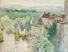 Eleanor HUGHES (1882-1959)Sauveterre-de-Béarn, Pyrenees Watercolour Paper embossed with Eleonar