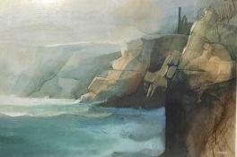 Ken SYMONDS (1927-2010) Lands End Oil on canvas Signed 60 x 90cm View the Virtual 360 exhibition