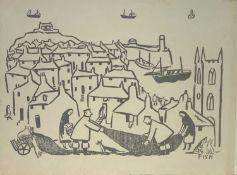 Anne Harriet SEFTON (Fish) (1890-1964) St Ives Woodcut 23 x 30cm