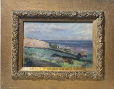 S BROWN St Ives Headland Oil on panel Signed, Lanhams brass tablet to verso 20 x 29cm