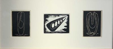 Denis MITCHELL (1912-1993)Sculpture FormsA trio of lino cuts, framed togetherTwo signed (and