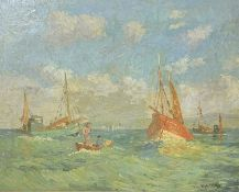 Hugh E. RIDGE (1899-1976) Fishing Boats, St Ives Bay, waiting for the tide Oil on canvas Signed 40 x