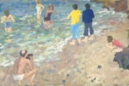 John HARVEY (1935)Summers Day at the Seaside Oil on board 29 x 43cm'John Harvey, St Ives Society