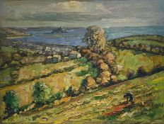 Bob VIGG (1932-2001)View of Mounts Bay Oil on board Initialled 46 x 61cmCondition report: The