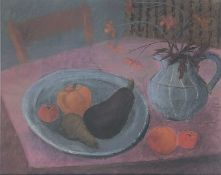 Biddy PICARD (1922 - 2019)Fruit and Plate Pastel SignedFurther signed and inscribed artists label to
