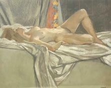 Ken SYMONDS (1927-2010) Valerie on White Sheet Pastel Signed 48 x 60cm
