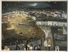 Alan FURNEAUX (1953) A Walk to Newlyn, Nocturn Oil on canvas Signed Inscribed to verso 91 x 121.