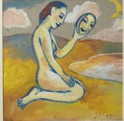 Janet LYNCH (1938) Kneeling Figure Acrylic Initialled and dated 93 24 x 24cmCondition report: This