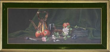 Ted DYER (1940)Still life with copper kettleOil on canvas Signed 35 x 91cm together with a print