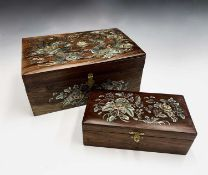 Two Chinese hardwood and mother of pearl work boxes, height 13cm, width 30cm, depth 19.5cm and