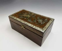 A Chinese hardwood and mother of pearl work box, the top inlaid with foliage, butterflies and a