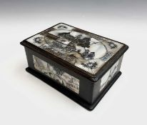 A Chinese hardwood and mother of pearl box, early-mid 20th century, the top with pagoda and
