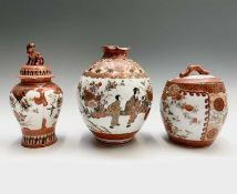 A Japanese Kutani porcelain jar and cover and two vases,19th century, each with red character marks,