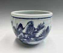 A Chinese blue and white porcelain jardiniere, 18th century, height 19cm, diameter 23.5cm.