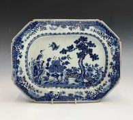 A Chinese blue and white export porcelain octagonal dish, 18th century, decorated with birds in a