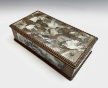 A Chinese hardwood and mother of pearl box, early 20th century, character marks to base, the top