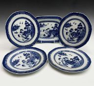 A Chinese export porcelain octagonal dish, 18th century, 19.5 x 28cm and four plates 23.5cm.