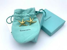 18ct gold Tiffany, Elsa Peretti large starfish earrings - with Tiffany bag, box and blank card