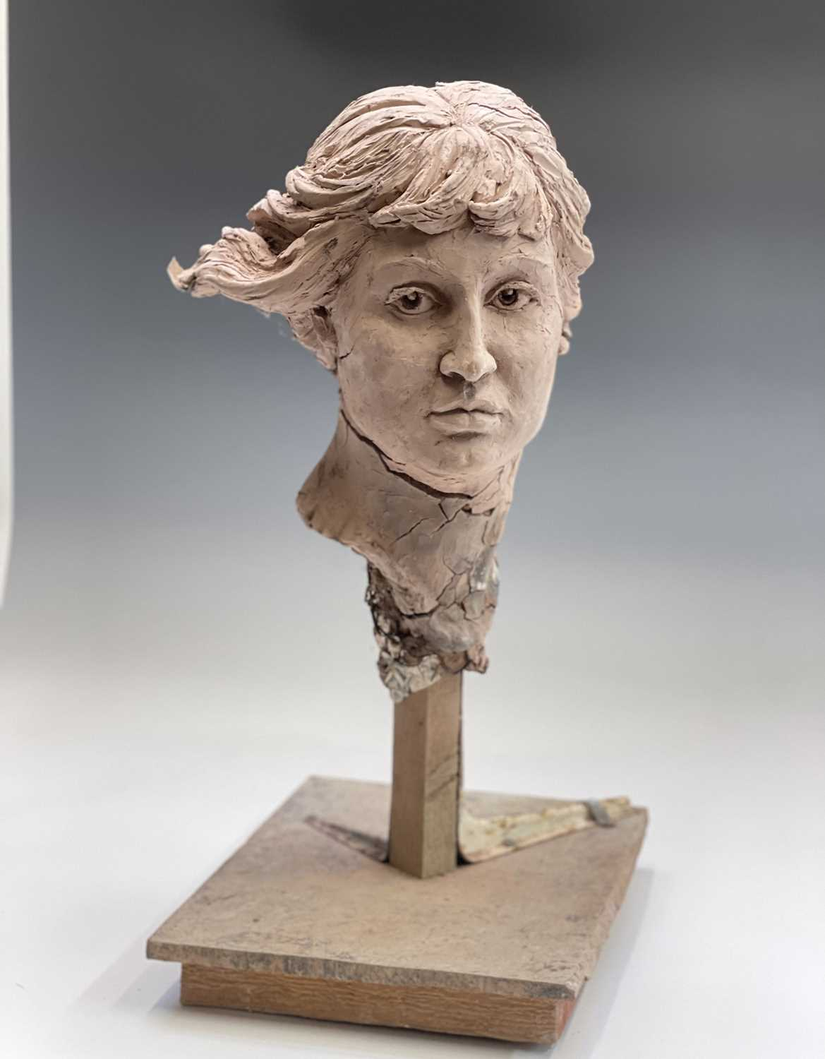 Alec WILES (1924)Female Head Clay sculpture Height 58cm - Image 4 of 17
