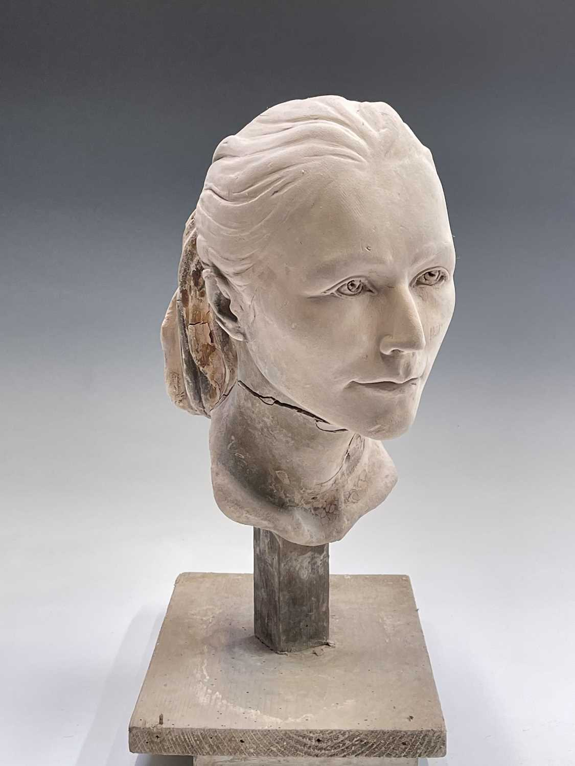 Alec WILES (1924)Female Head Plaster sculpture Height 42cm - Image 7 of 8