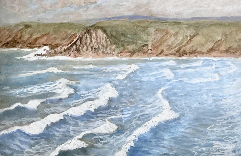 Lilian BLAND (1878-1971) (Aviator)Sennen SeascapeWatercolour/gouache28x43cmNews article to verso