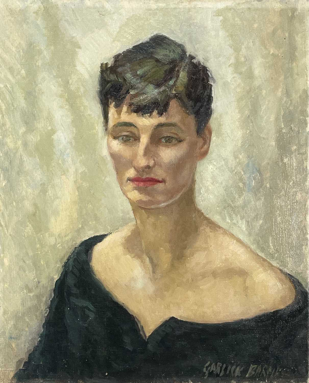 Garlick BARNES (1891-1987)Portrait of a Lady Wearing a Black DressOil on canvas Signed 56 x 46cm