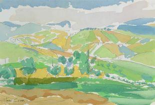 Tom CROSS (1931-2009) Landscape at San Ginesio 1981 Gouache Signed 19 x 28cm