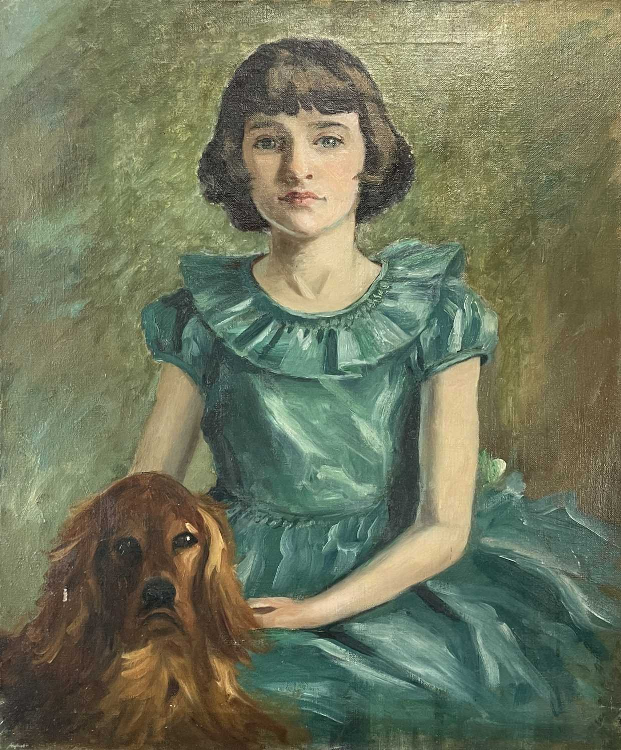 Garlick BARNES (1891-1987)Portrait of a Girl with her DogOil on canvas 76 x 63cm Garlick Barnes