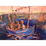 Nicola BEALING (1963) The Blue Boat Oil on board Signed with initials, to verso it is signed,