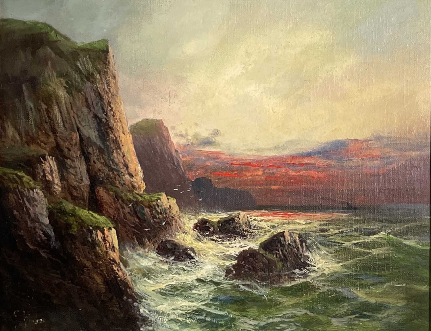 """Frank HIDER (1861-1933)Two oils on canvas """"Near Lands End"""", 30 x 50cm'The Evening Glory of the - Image 7 of 7"""