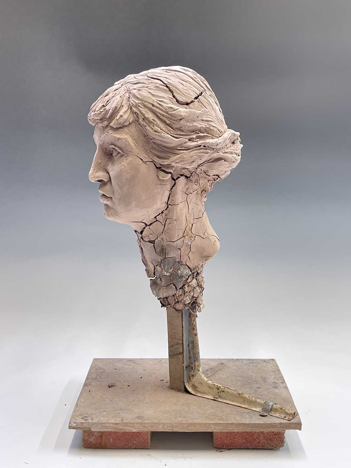 Alec WILES (1924)Female Head Clay sculpture Height 58cm - Image 12 of 17