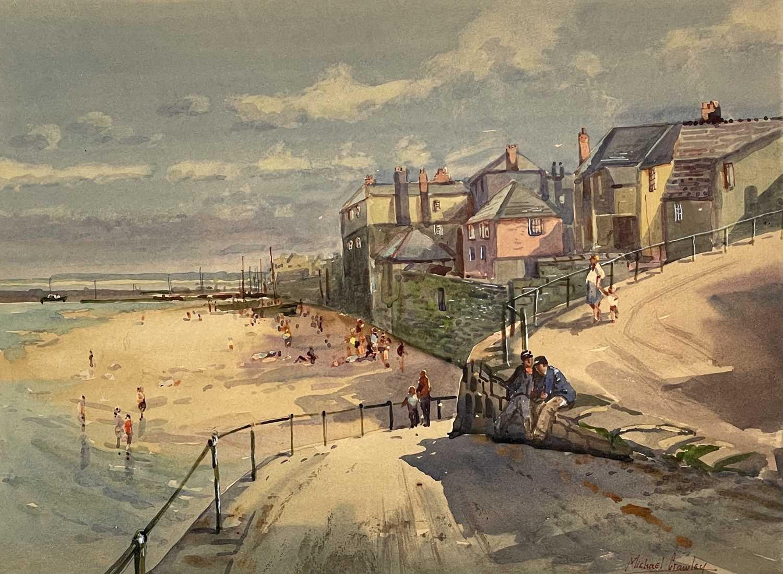 Michael CRAWLEY (XX-XXI) Newlyn Watercolour Signed 31x41.5cm