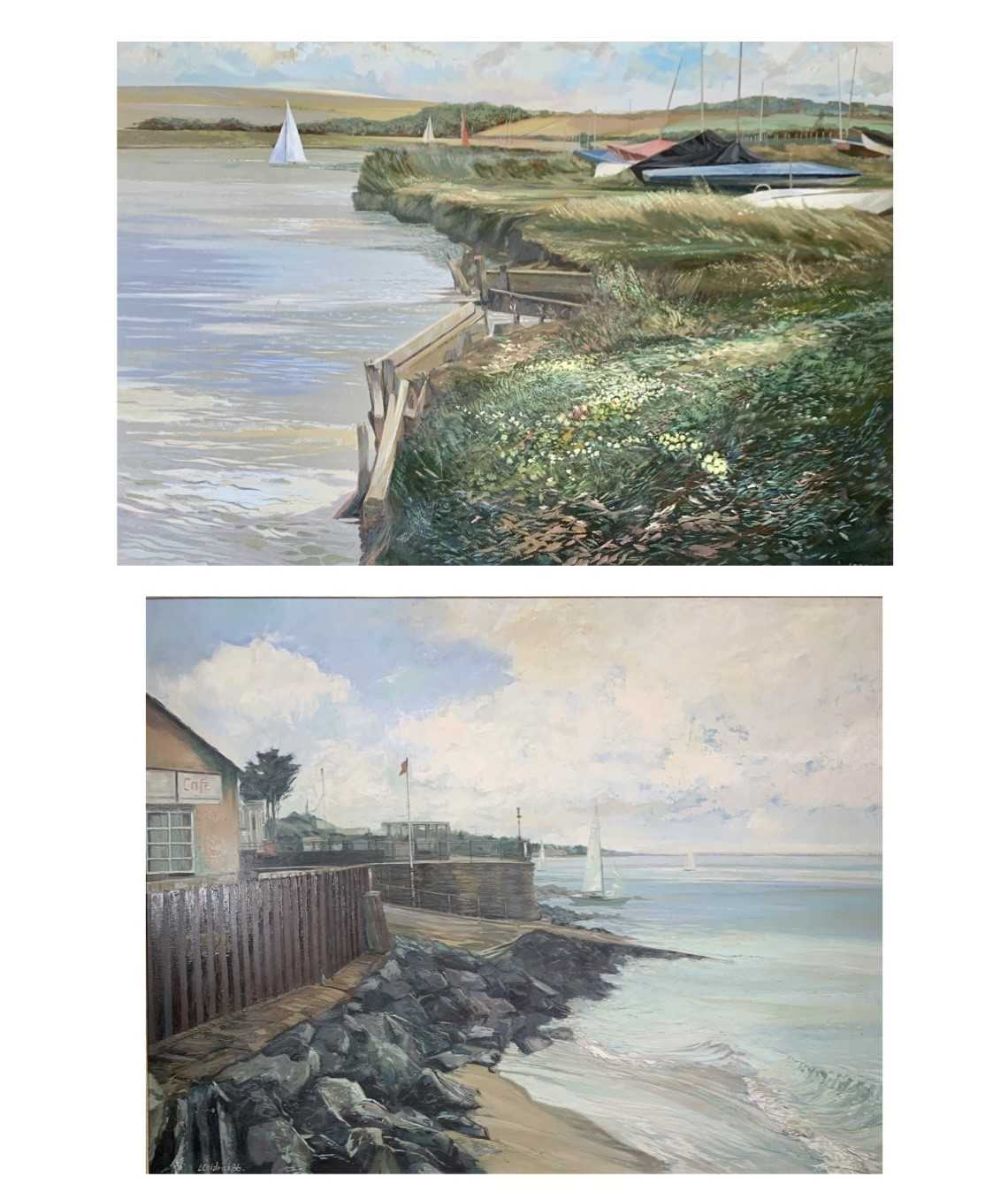 Les COLDRICK The Slipway Oil on board Signed and dated '86 70x91cm Together with Les COLDRICK
