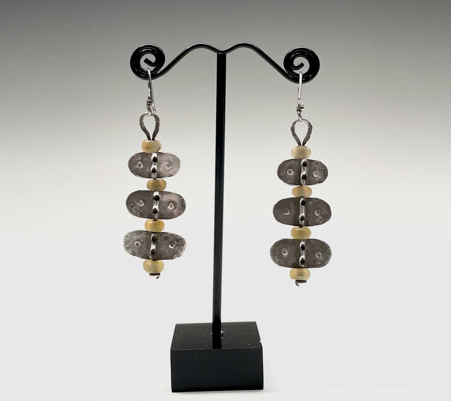 A pair of stone bead and silver Guy Royle earrings, length 6cm. - Image 3 of 10