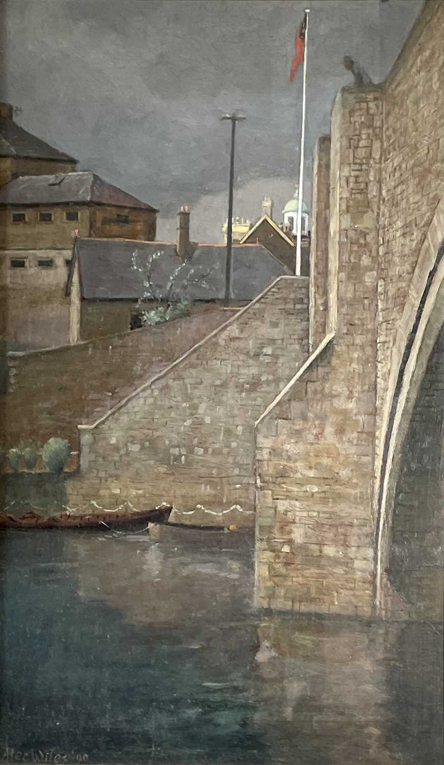 Alec WILES (1924) City Bridge Oil on board Signed and dated '90 59x35cm