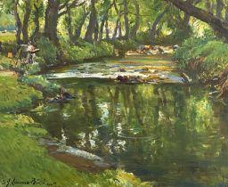 Samuel John Lamorna BIRCH (1869-1955) Lamorna stream with an artist on the riverbankOil on