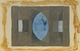 John WELLS (1907-2000) Christmas card to Alex MacKenzie Monotype Signed 9x12.5cm
