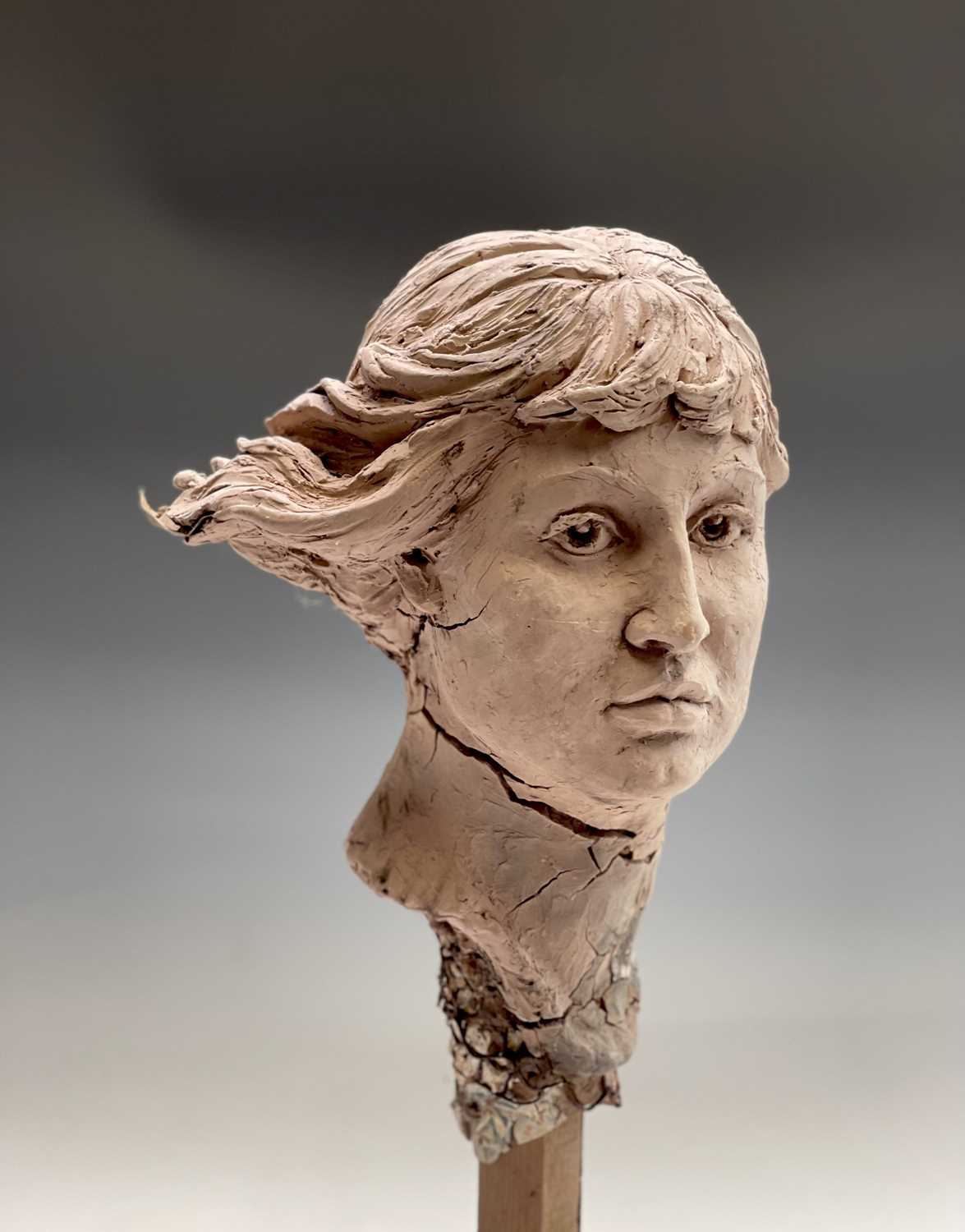 Alec WILES (1924)Female Head Clay sculpture Height 58cm - Image 5 of 17