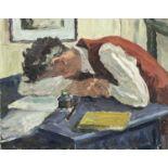 Garlick BARNES (1891-1987)Man Asleep at his DeskOil on canvas Signed41 x 51cm Garlick Barnes 1891-